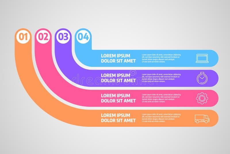 Infographics设计传染媒介 与步或过程的企业概念 库存例证