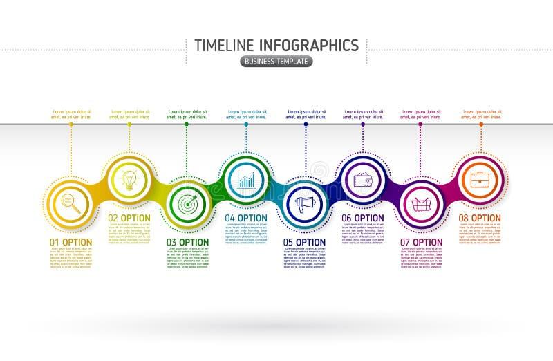 Infographics à chaînes coloré de diagramme pour des présentations Chronologie illustration de vecteur