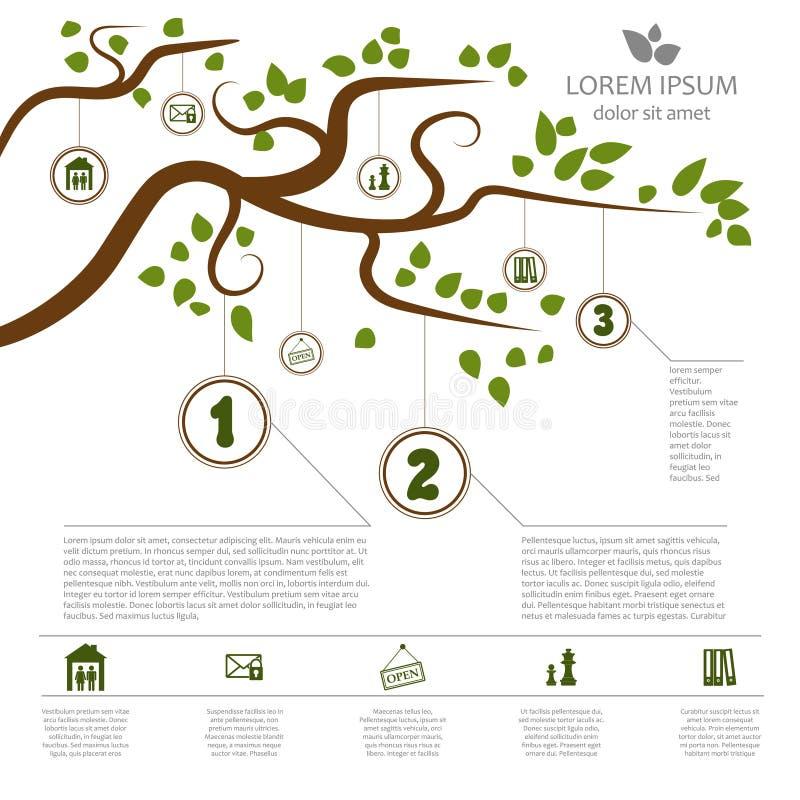Infographics à moda com uma árvore para um projeto específico e um lugar para seu texto ilustração stock