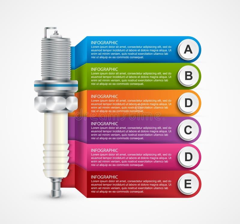 Infographics с свечами зажигания для представлений и брошюр иллюстрация штока