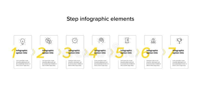 Infographics διαγραμμάτων επιχειρησιακής διαδικασίας με 7 κύκλους βημάτων Κυκλικά εταιρικά γραφικά στοιχεία ροής της δουλειάς E διανυσματική απεικόνιση