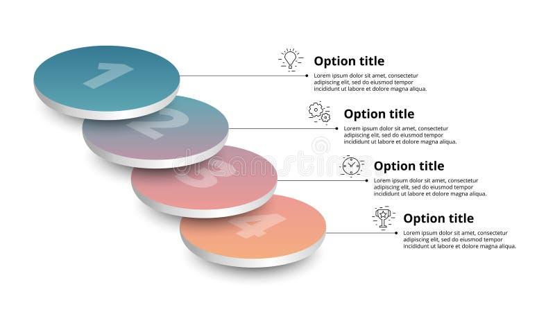 Infographics διαγραμμάτων επιχειρησιακής διαδικασίας με 4 τμήματα βημάτων Circul διανυσματική απεικόνιση