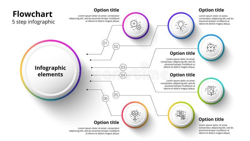 Infographics διαγραμμάτων επιχειρησιακής διαδικασίας με 6 τμήματα βημάτων Circul ελεύθερη απεικόνιση δικαιώματος