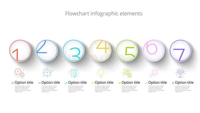 Infographics διαγραμμάτων επιχειρησιακής διαδικασίας με 7 τμήματα βημάτων Circul διανυσματική απεικόνιση