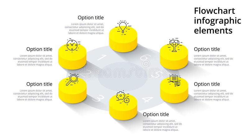 Infographics διαγραμμάτων επιχειρησιακής διαδικασίας με 6 τμήματα βημάτων Isomet διανυσματική απεικόνιση