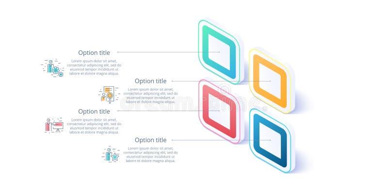 Infographics διαγραμμάτων επιχειρησιακής διαδικασίας με 4 τμήματα βημάτων Isomet απεικόνιση αποθεμάτων