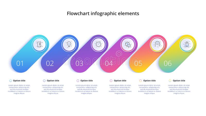 Infographics διαγραμμάτων επιχειρησιακής διαδικασίας με 4 τμήματα βημάτων Circul απεικόνιση αποθεμάτων