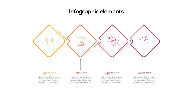 Infographics διαγραμμάτων επιχειρησιακής διαδικασίας με το βήμα 4 rhombs Τετραγωνικά εταιρικά γραφικά στοιχεία ροής της δουλειάς  ελεύθερη απεικόνιση δικαιώματος