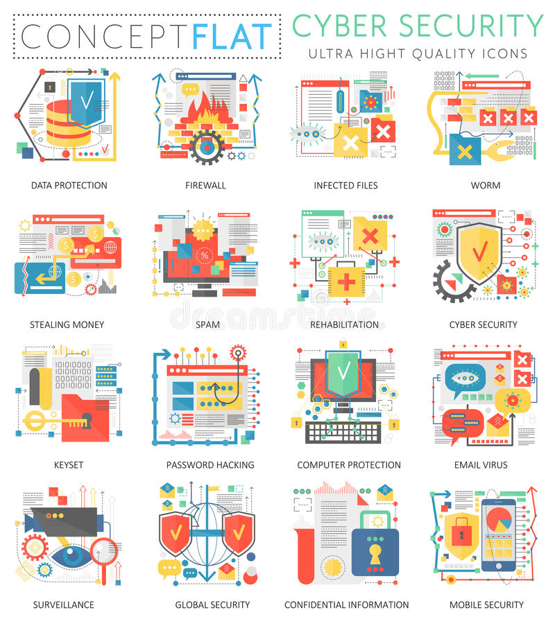 Infographics μίνι ασφάλεια επικοινωνίας έννοιας σε απευθείας σύνδεση, εικονίδια προστασίας υπολογιστών του Ιστού Χρώμα εξαιρετική διανυσματική απεικόνιση