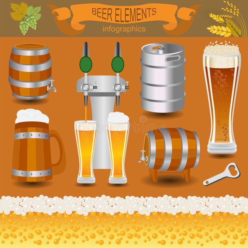 Infographics μπύρας, καθορισμένα στοιχεία, για τη δημιουργία του infograph σας διανυσματική απεικόνιση