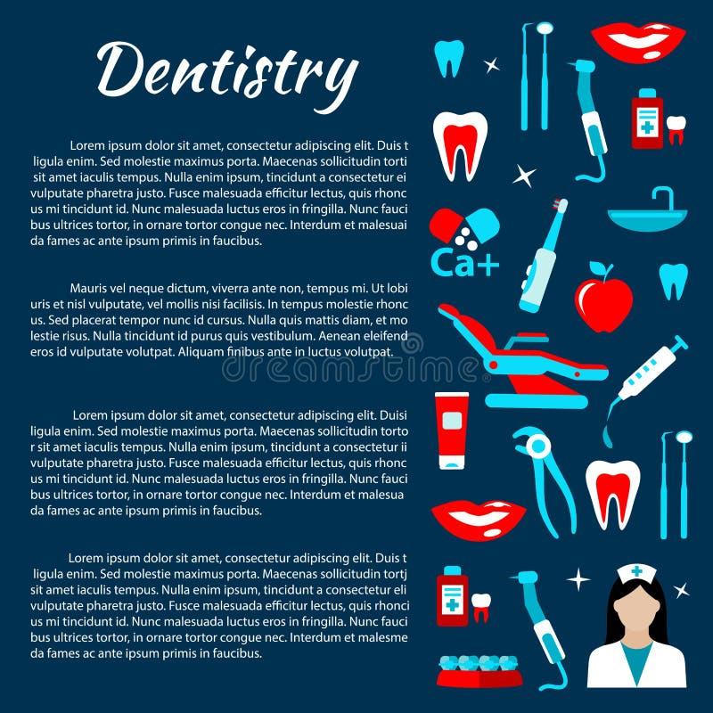Infographics οδοντιατρικής με τα οδοντικά εικονίδια προσοχής διανυσματική απεικόνιση
