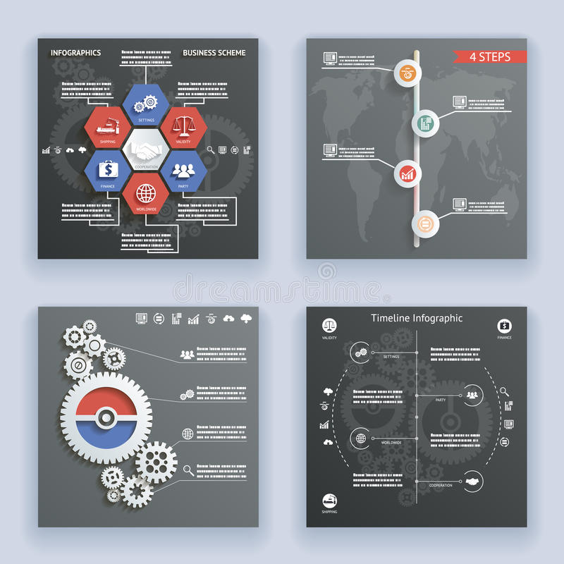 Infographics παγκόσμιων χαρτών συμβόλων και εικονιδίων στοιχείων εκλεκτής ποιότητας αναδρομικό πρότυπο σχεδίου ύφους υπόδειξης ως διανυσματική απεικόνιση