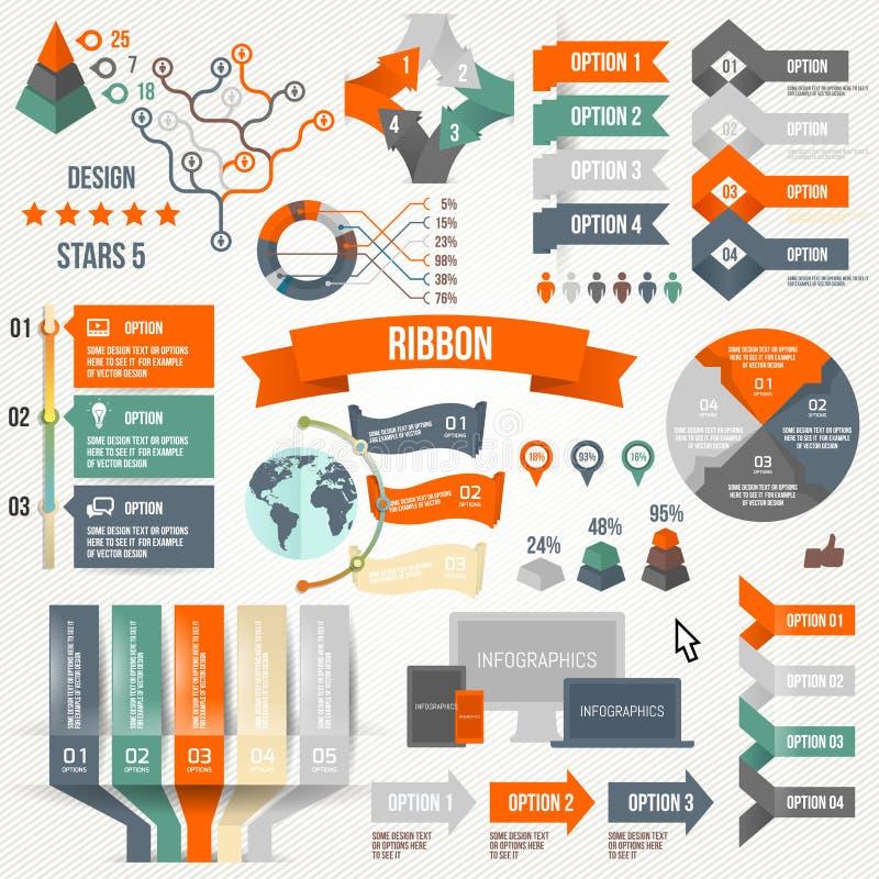 Infographics που τίθεται με τις επιλογές Infographic, κορδέλλα, λογότυπο, εικονίδιο και τρισδιάστατα διανυσματικά στοιχεία Κοινων ελεύθερη απεικόνιση δικαιώματος