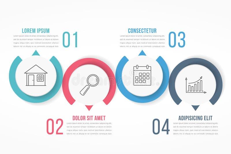 Infographics τεσσάρων βημάτων διανυσματική απεικόνιση