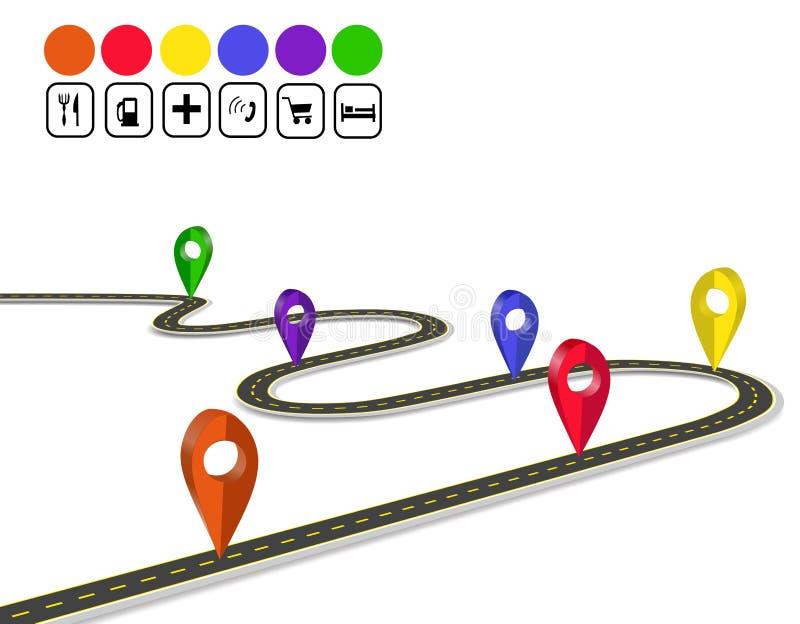 Infographics τρισδιάστατος πλοηγός σημαδιών Δρόμος με πολλ'ες στροφές με τα σημάδια Μια άποψη προοπτικής απεικόνιση απεικόνιση αποθεμάτων
