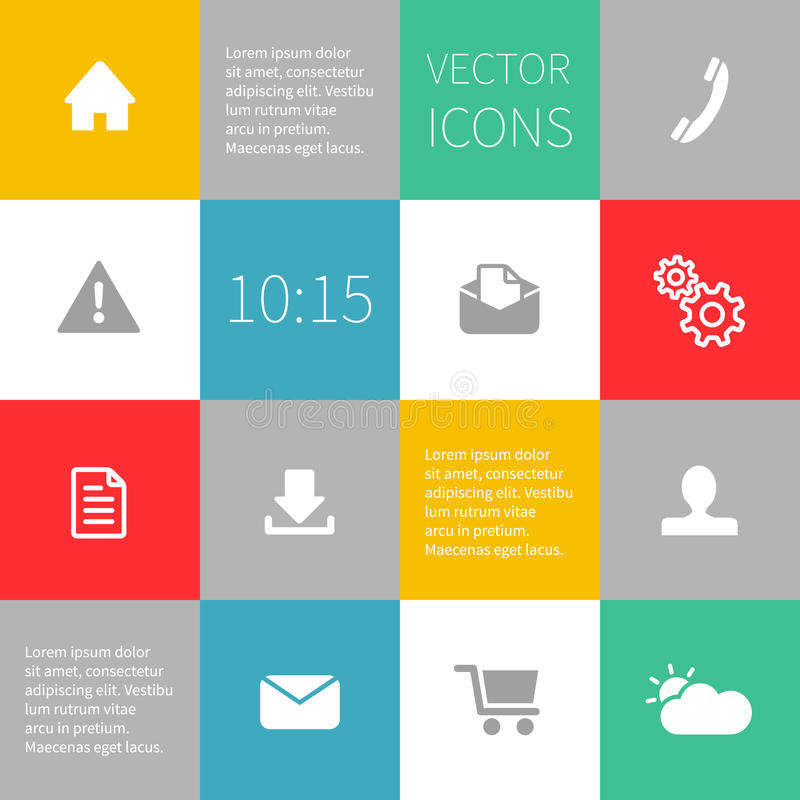 Infographics υποβάθρου τετραγώνων με τα διανυσματικά εικονίδια απεικόνιση αποθεμάτων