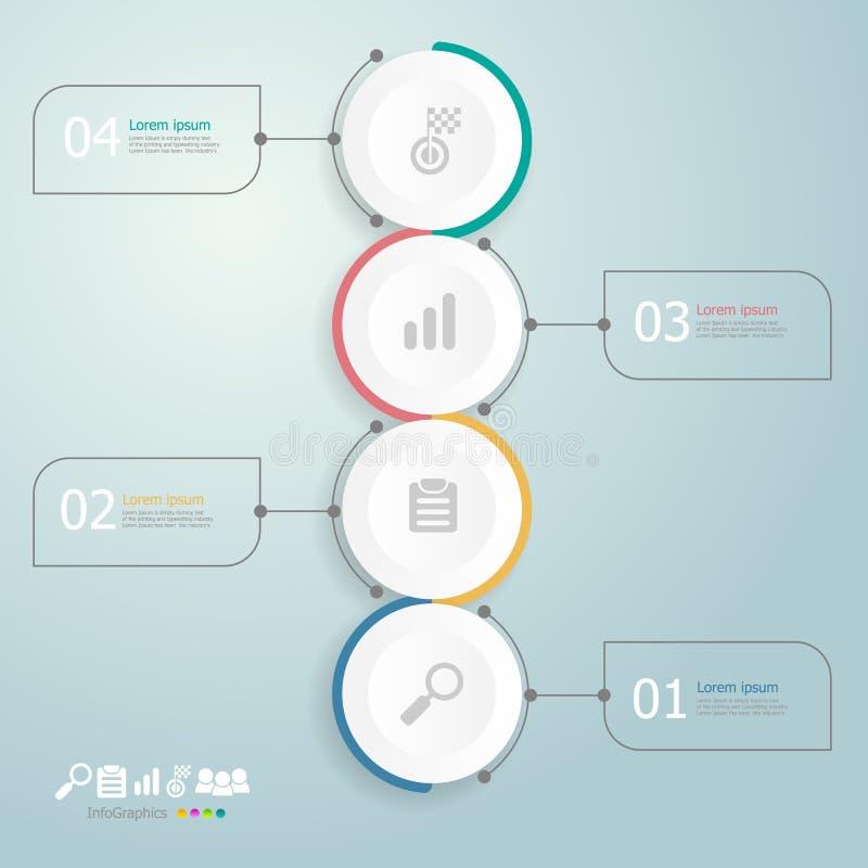 Infographics υπόδειξης ως προς το χρόνο κύκλων 4 βήματα για την επιχειρησιακή παρουσίαση ελεύθερη απεικόνιση δικαιώματος