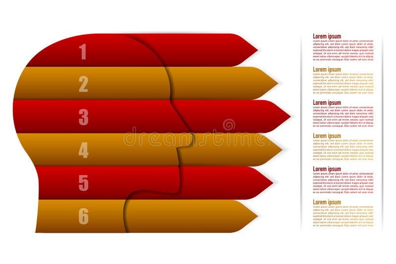 Infographics υπόδειξης ως προς το χρόνο έξι βημάτων στην επικεφαλής μορφή με τα βέλη στοκ εικόνες με δικαίωμα ελεύθερης χρήσης