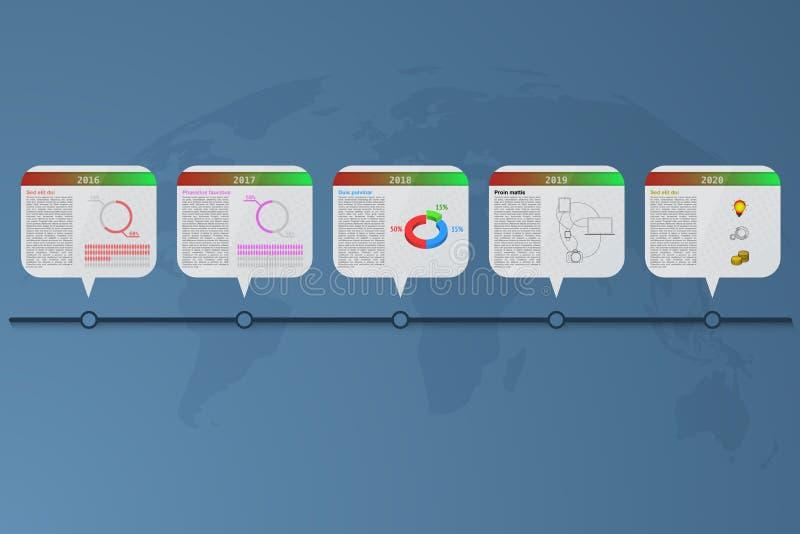 Infographics υπόδειξης ως προς το χρόνο πέντε βημάτων με τα εμβλήματα ορθογωνίων διανυσματική απεικόνιση