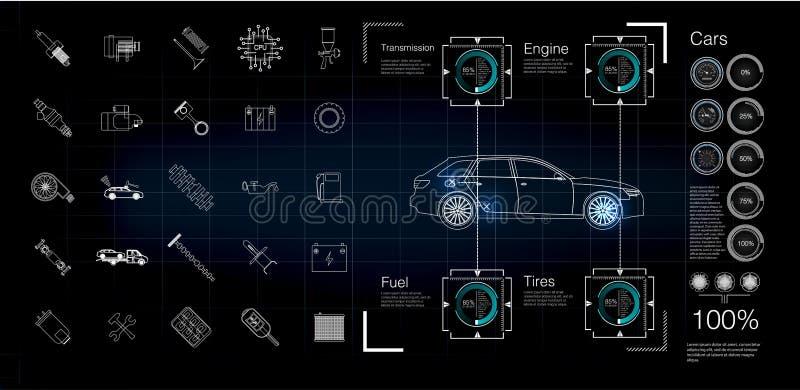 Infographics автомобиля, диагностики неисправностей и неисправности в автомобиле бесплатная иллюстрация