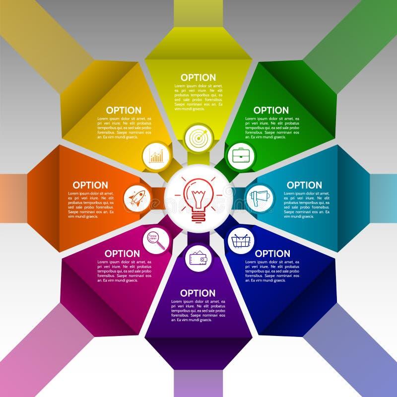 Infographics 8 вариантов с номером, значками и te информации бесплатная иллюстрация
