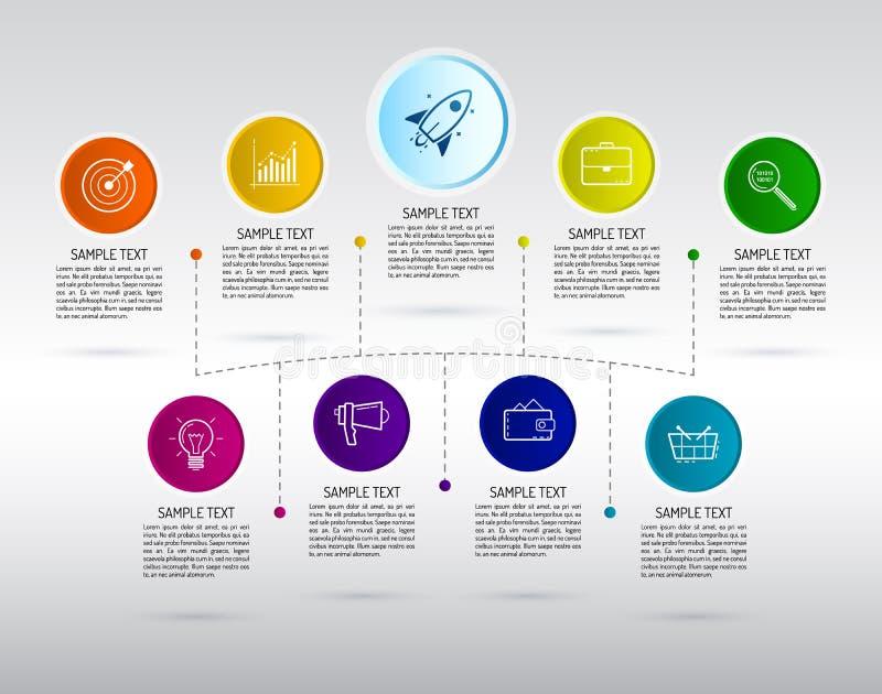 Infographics 9 вариантов с номером, и текстом информации иллюстрация штока