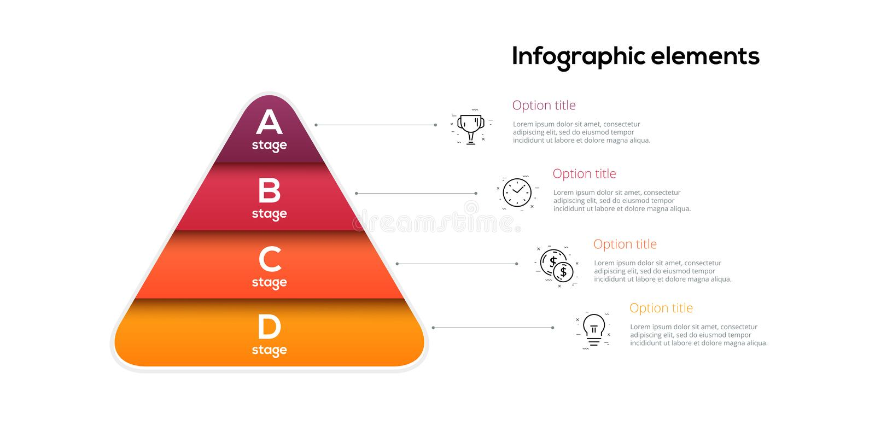 Infographics диаграммы пирамиды дела с 4 шагами Pyramidal этапы изображают диаграммой элементы Шаблон представления уровней компа иллюстрация штока