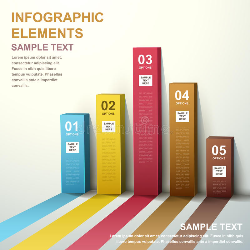infographics диаграммы в виде вертикальных полос конспекта 3d иллюстрация штока