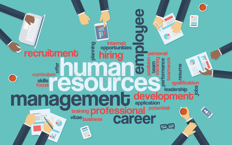 Infographics дизайна человеческих ресурсов плоское с словом иллюстрация штока