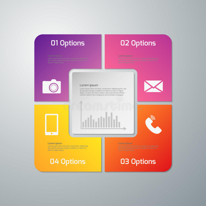 Infographics иллюстрации вектора 4 варианта Бумажный квадрат с округленными углами иллюстрация вектора
