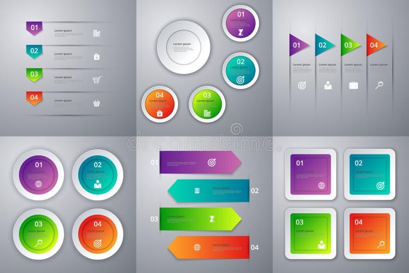 Infographics иллюстрации вектора Комплект 6 красочных шаблонов иллюстрация штока