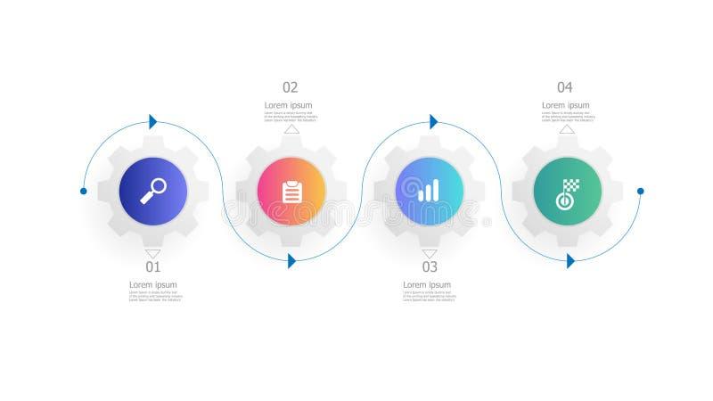 Infographics колес шестерней Cog 4 шага бесплатная иллюстрация