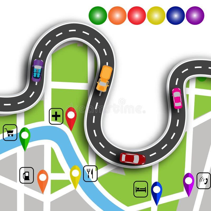 Infographics дороги Извилистая дорога с знаками 3d Путь определяет положение на навигаторе карты иллюстрация иллюстрация вектора