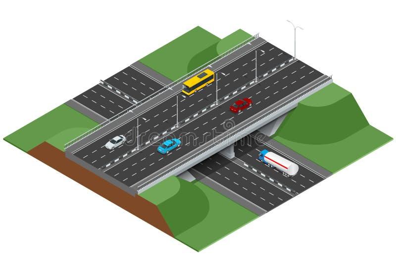 Infographics дороги с шоссе с переходом города Плоская равновеликая концепция 3d города с шоссе бесплатная иллюстрация
