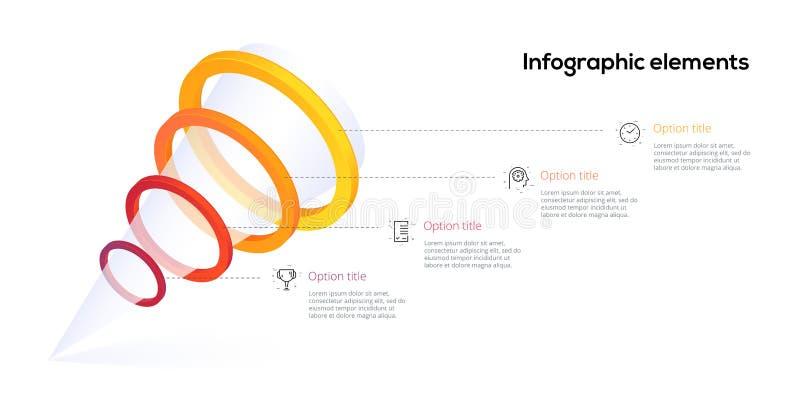 Infographics технологической карты операций шага пирамиды 4 с кругами варианта Элементы иерархии потока операций дела воронки Пре иллюстрация вектора