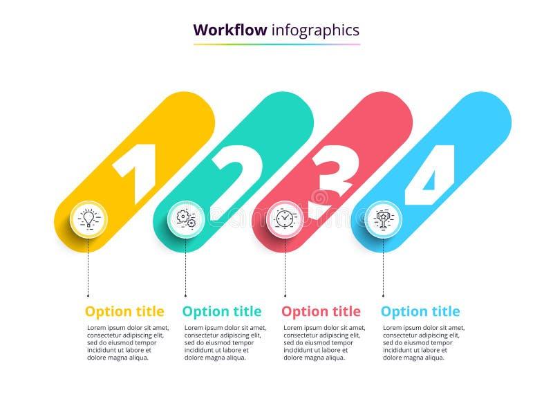 Infographics технологической карты операций бизнес-процесса с 4 кругами шага Circula иллюстрация вектора