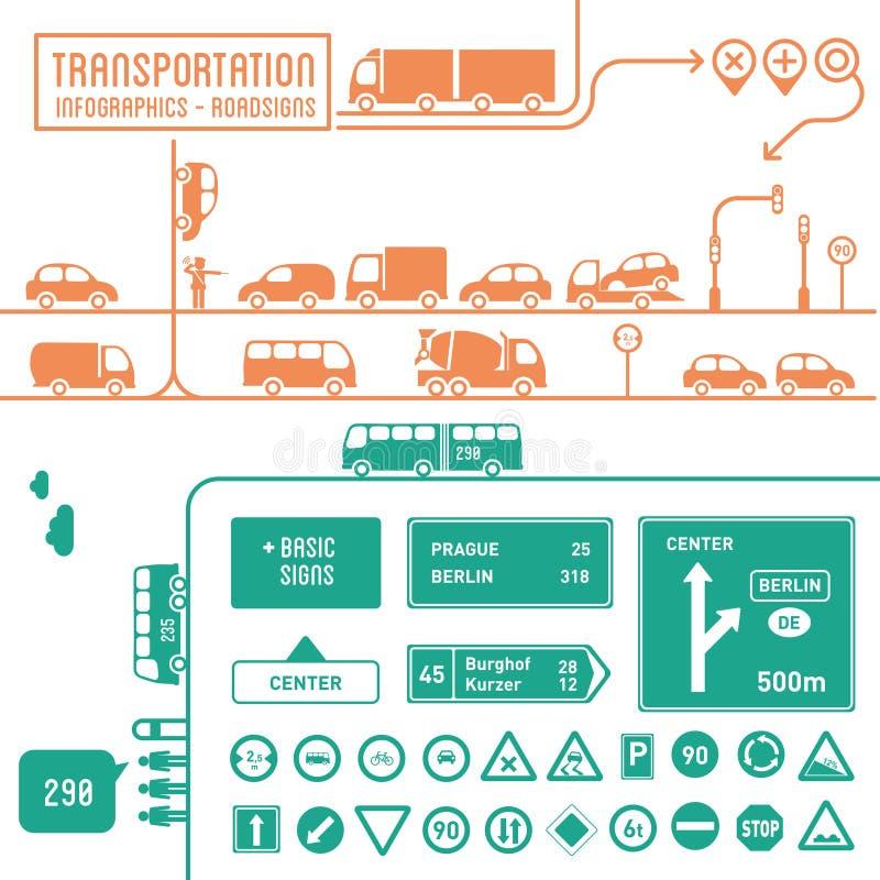 Infographics транспорта - roadsigns бесплатная иллюстрация