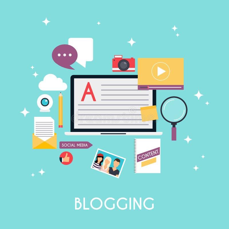 Infographics шаблона blogging Дизайн концепции блога Плоский дизайн иллюстрация штока