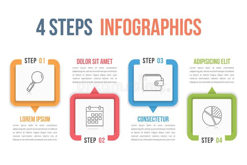 Infographics 4 шагов иллюстрация вектора
