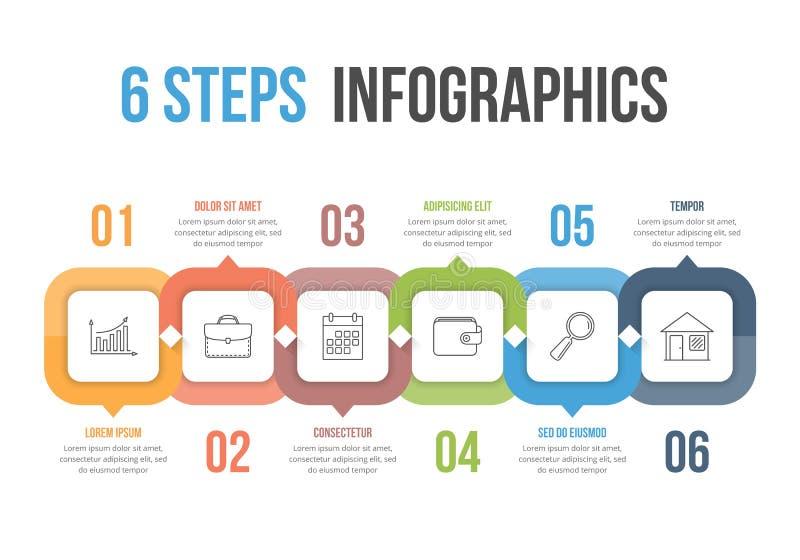 6 infographics шагов иллюстрация штока