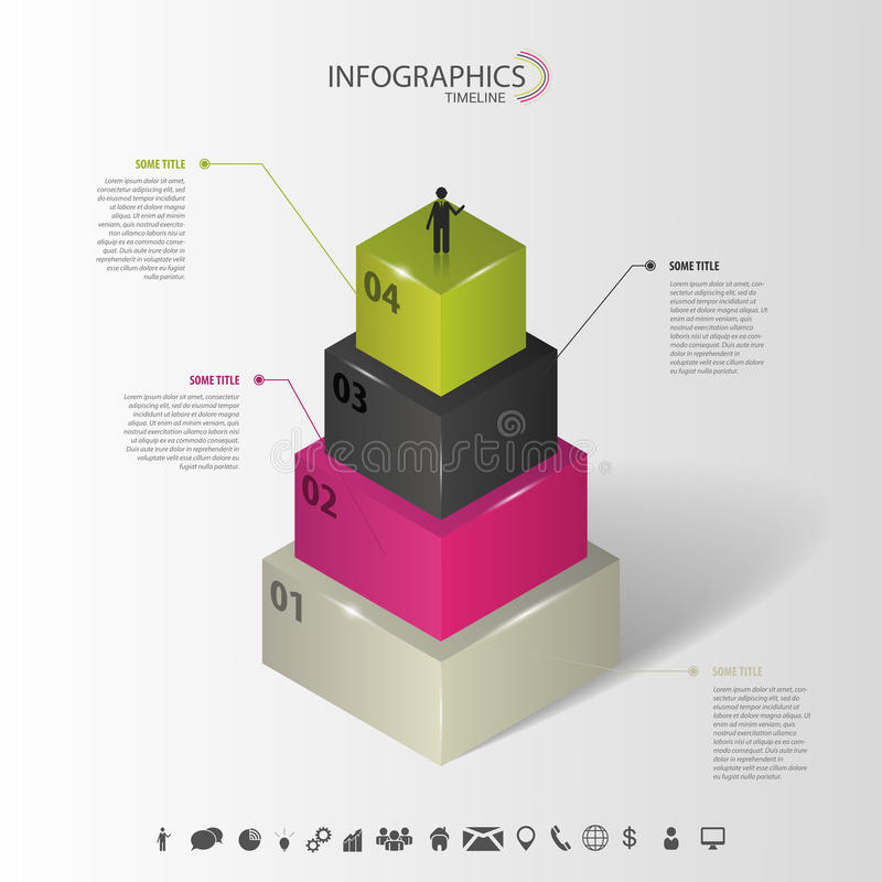 Infographics Abstract 3d concept met pictogrammen Vector stock illustratie