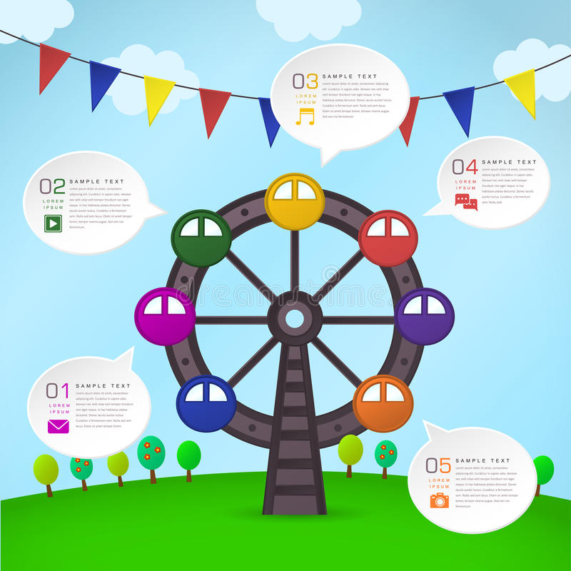 Infographics abstracto de Ferris Wheel stock de ilustración
