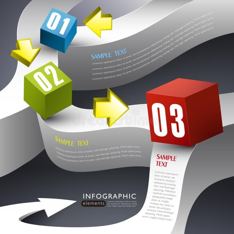 Infographics abstracto de la caja 3d stock de ilustración