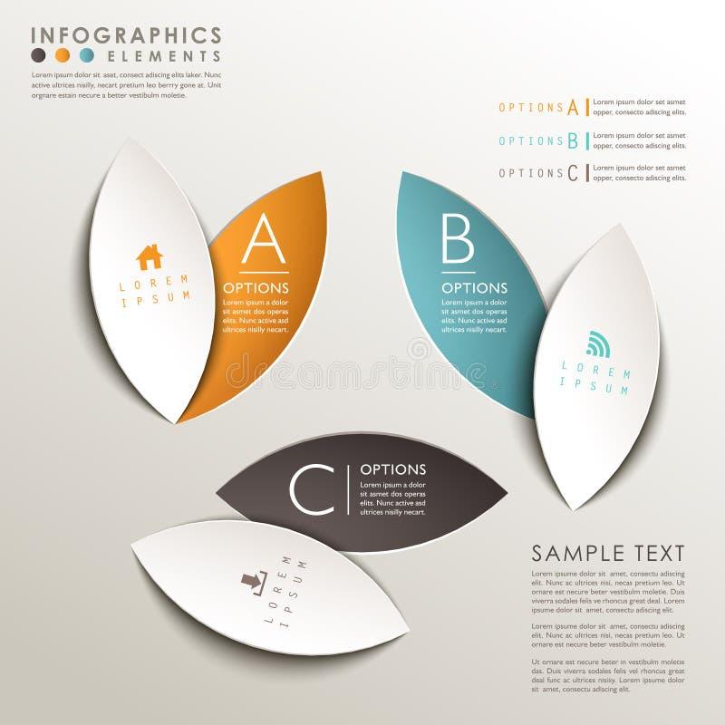Infographics abstracto de la etiqueta de la hoja 3d libre illustration