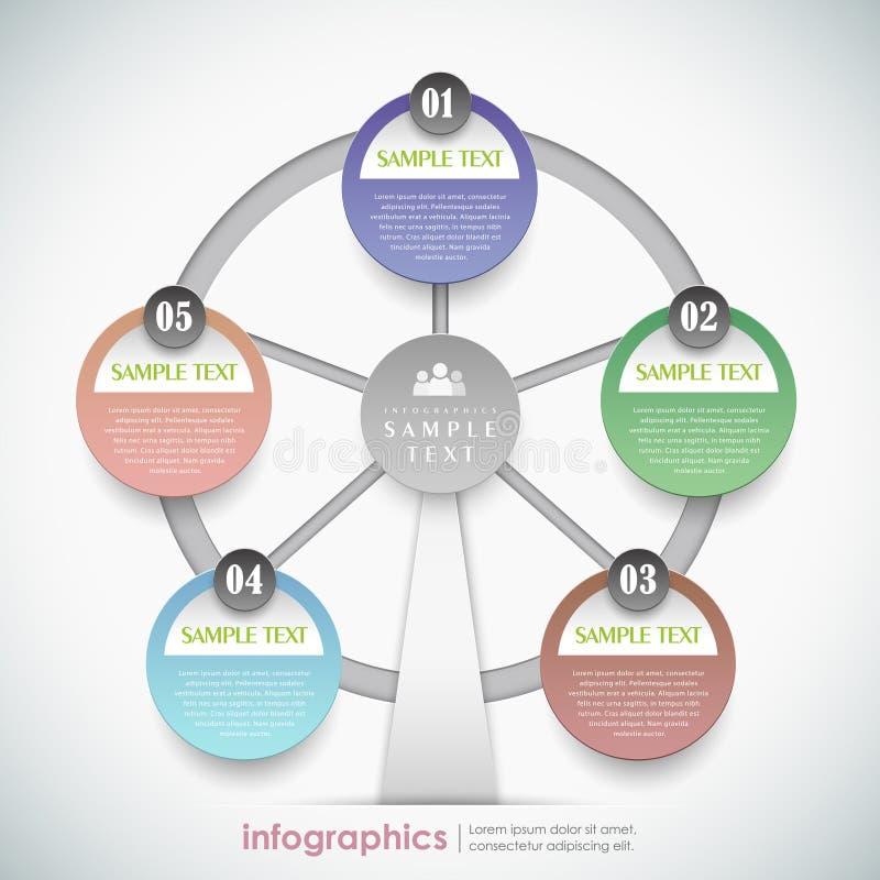 Infographics abstracto de la noria del papel 3d del vector ilustración del vector