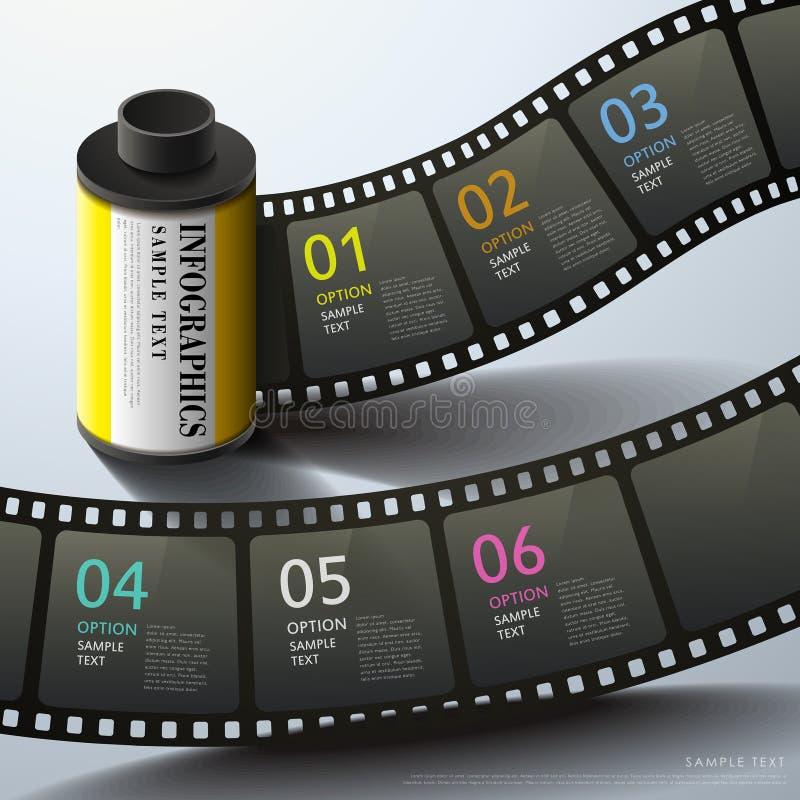 Infographics abstracto de la película 3d stock de ilustración