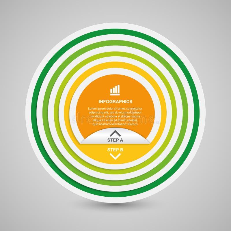 Infographics abstracto de las opciones del papel del círculo 3D stock de ilustración