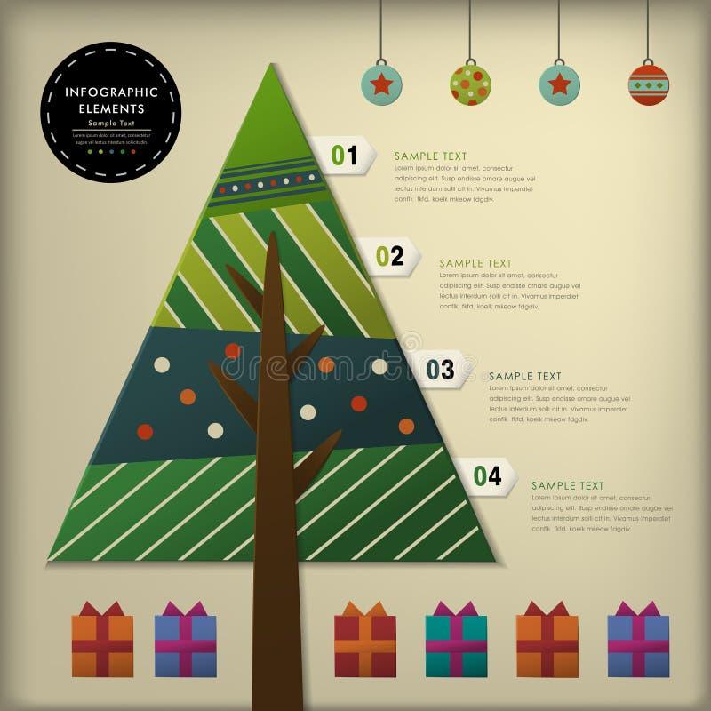 Infographics abstracto del árbol de navidad del papel 3d stock de ilustración