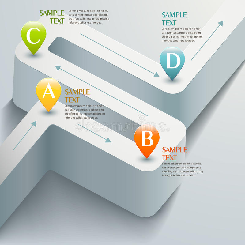 Infographics abstracto del camino 3d del vector stock de ilustración