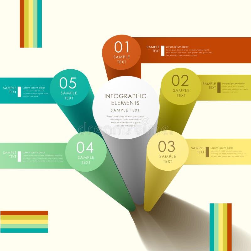Infographics abstracto del cilindro 3d ilustración del vector